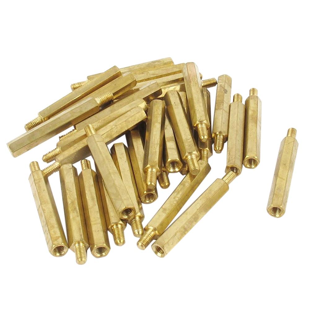 30Pcs M3 3mm Male Female Brass PCB Spacer Hex Stand-Off Pillar 30mm 50 pcs m3 7mm 6mm male female thread nylon pcb hex stand off screw spacer