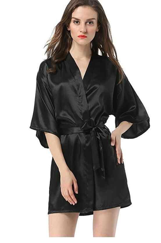 New Black Trung Quốc Phụ Nữ Faux Silk Robe Bath Gown Hot Bán Kimono Yukata Màu Áo Choàng Tắm Rắn Ngủ Sml XL XXL NB032