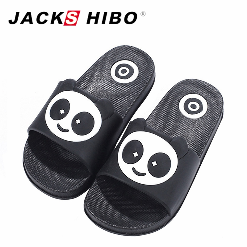 JACKSHIBO Women Cute Slippers Panda Prints Lovers Beach Slippers Spring Summer Big Size Unisex Slip on Slides Zapatos Mujer