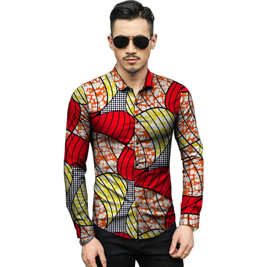 f3f1c637b86 Анкара цветные Африканский принт мужские dashiki рубашки африканская одежда  costom сильных мужчин рубашка с длинным рукавом
