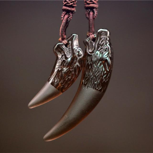 dd3973ec3 QIANXU Ice Obsidian Wolf Teeth Necklace Pendant Amulet Jade Pendant Fine  Jewelry With Chain