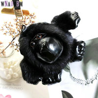 2019 new imported mink fur gorilla keychain men and women bags pendant car keychain fur keychain pendant jewelry accessories