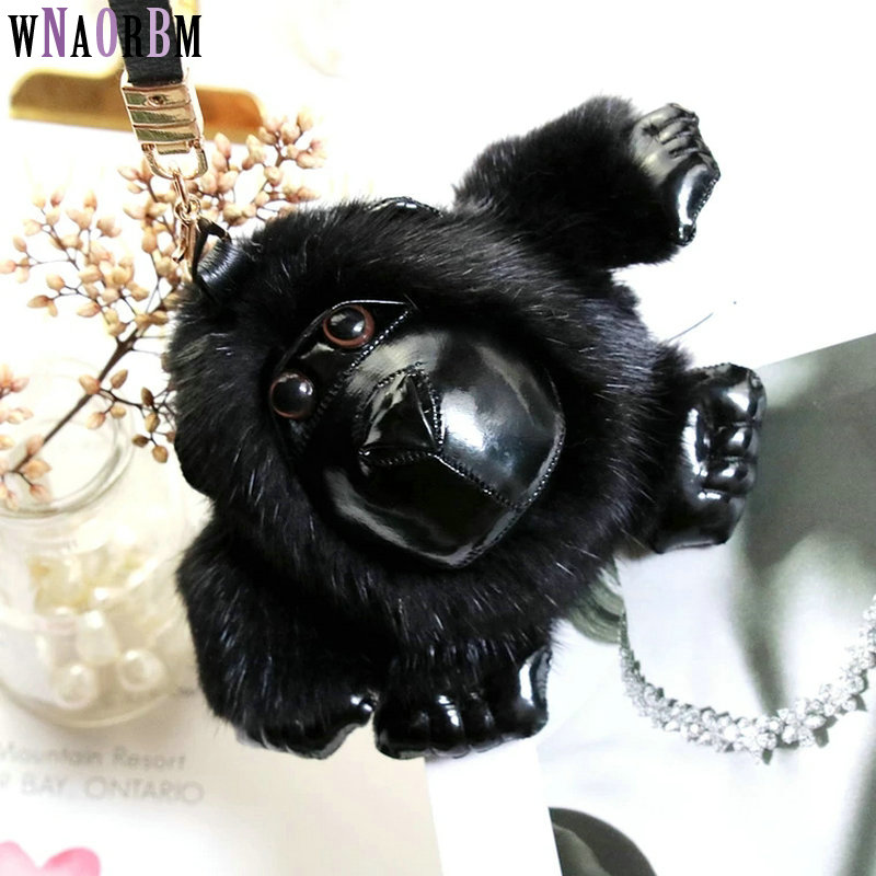 2019 nouveau importé vison fourrure gorille porte-clés hommes et femmes sacs pendentif voiture porte-clés fourrure porte-clés pendentif bijoux accessoires