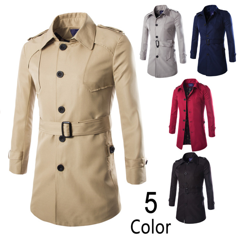 Trench coat men classic men's single breasted trench coat mens clothing medium and long waist belt jackets coats british style