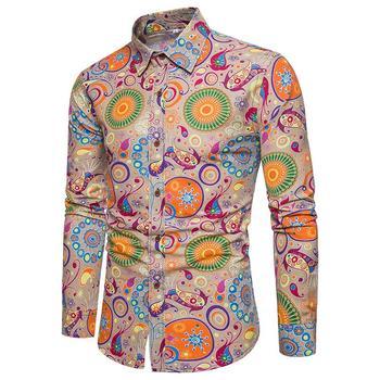Linen Shirts Men Floral Retro Plus size Social Shirt for Slim fit Casual Blouse s Clothing New