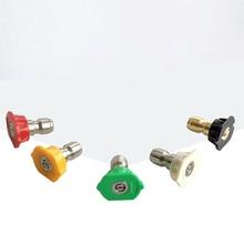 """5 Pcs 1/4 """"Quick Connector Auto Wassen Nozzles Metal Jet Lance Nozzle Verschillende Hoeken Hogedrukreiniger Sproeikop"""
