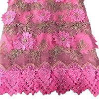 African Lace Fabric Black 2017 Embroidered 3d Flower Lace Fabrics Nigerian Applique Tulle French Lace For