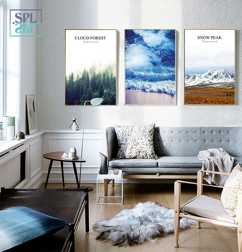 SPLSPL Nordic Minimalist Modern Landscape Combination Decorative Painting Hd Print Canvas Wall Picture For Bedroom No Frame