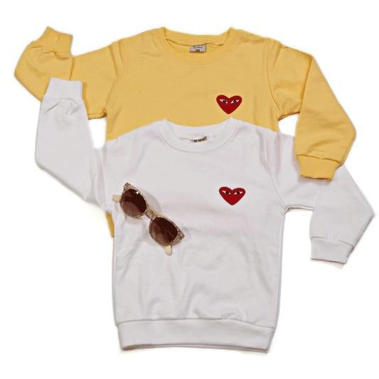 2013 male female child o-neck long-sleeve basic shirt baby 100% all-match cotton t-shirt love sweatshirt white