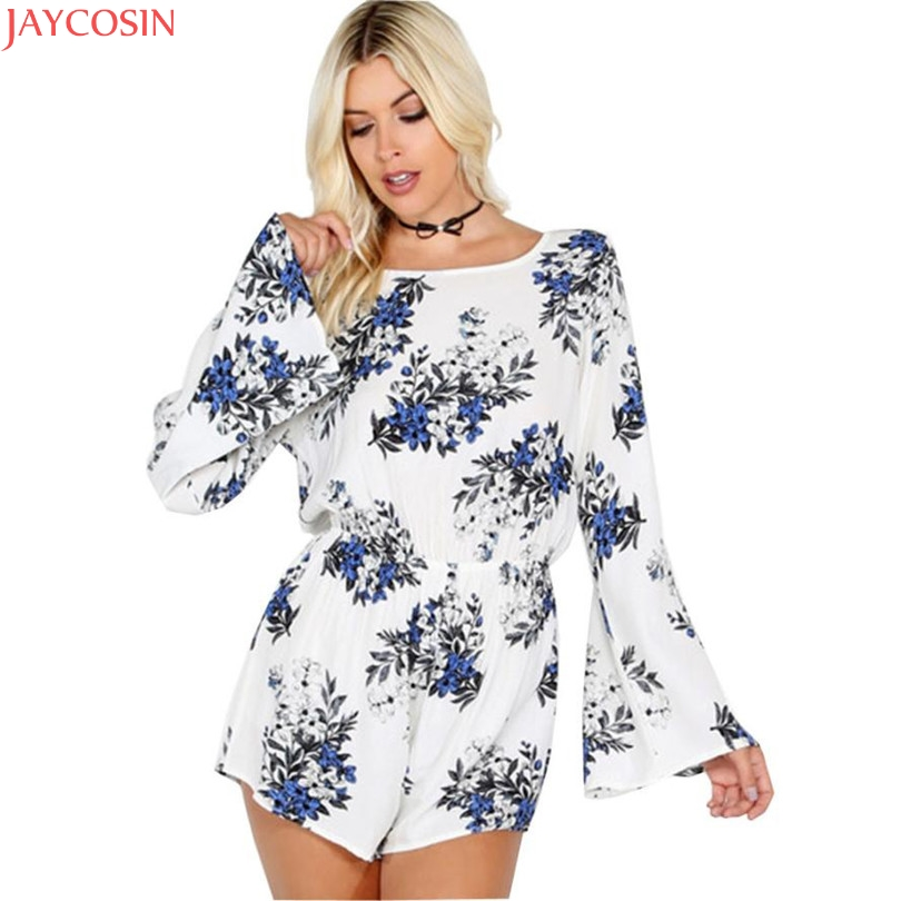 JOYCOSIN 2018 hot Polyester Jumpsuits plus size Summer Women Casual Printed O-Neck Long-Sleeved Romper Jumpsuits