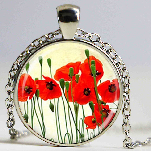Wholesale glass dome poppies flower pendant necklace poppies jewelry wholesale glass dome poppies flower pendant necklace poppies jewelry glass cabochon art picture necklace aloadofball Gallery
