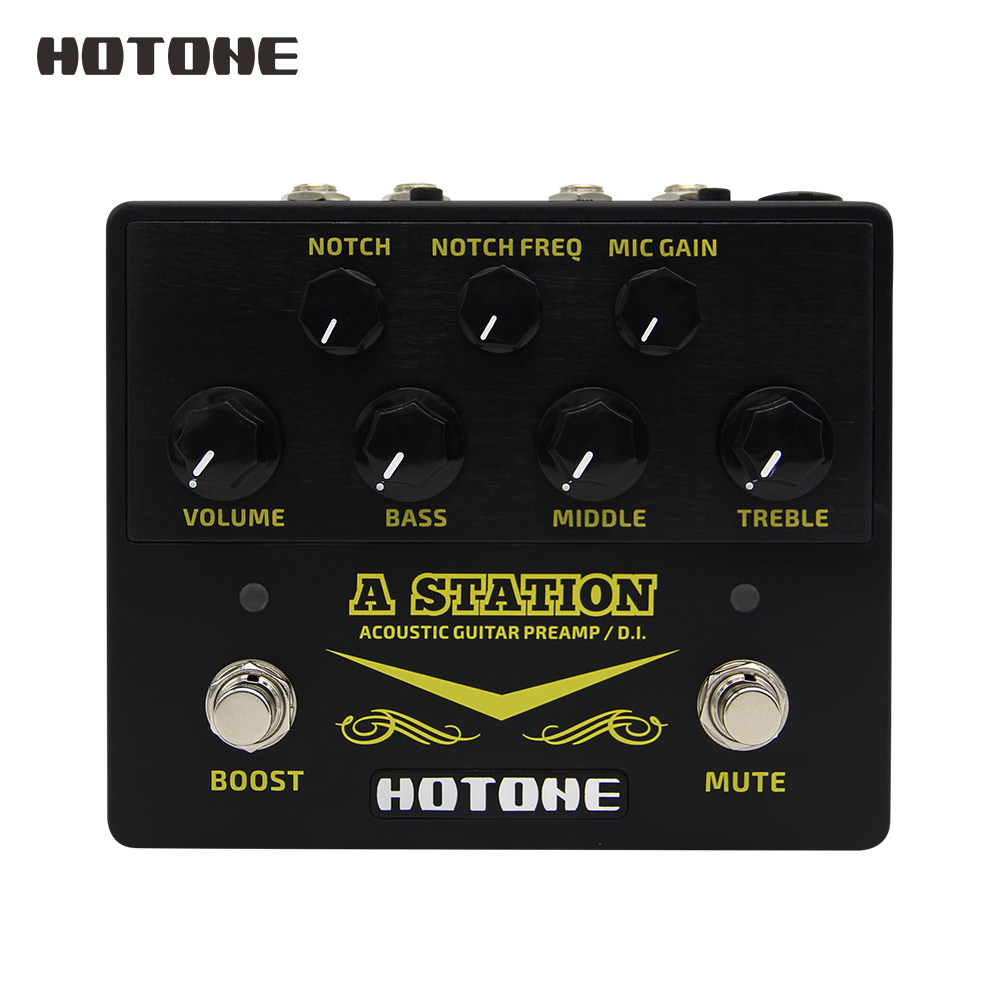 A Station Acoustic Preamp DI Box Guitar Microphone Guitar Effects Pedal 9V DC Power Adapter Included