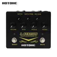 Hotone A 스테이션 어쿠스틱 프리 앰프 DI 박스 기타 및 마이크 기타 이펙트 페달 9V 어댑터 포함 AD20