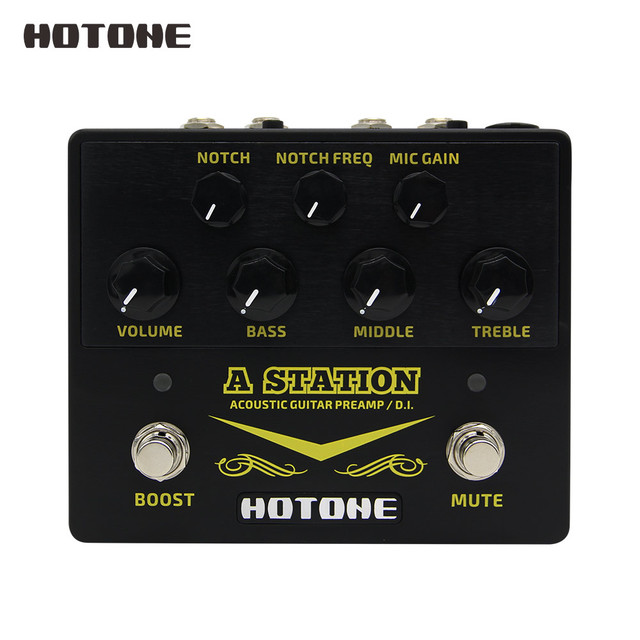 Hotone A Station Acoustic Preamp DI Box Guitar & Microphone Guitar Effects Pedal 9V Adapter Included AD20
