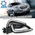 2 Pçs/set LED DRL Daytime Running luz Do Carro ABS 12 V nevoeiro conjunto da lâmpada LEVOU luz do dia para Hyundai IX35 2013 2014 2015