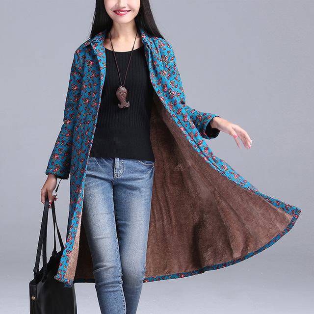Blue Color Floral Print Turen Collar Collar Long Coat Winter Warm Thick Cashmere Women's Trending Outerwear New No Button
