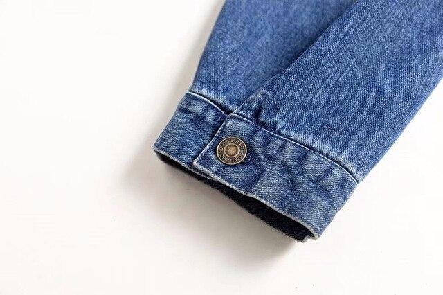 2018 Spring Kendall Jenner Streetwear Fashion Jeans Jacket Oblique Buckle Irregular Design Washed Denim Jacket Coat Female 3