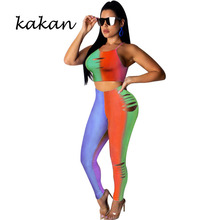 Kakan best women's jumpsuit two-piece summer sexy gradient color hole sling jumpsuit nightclub club party jumpsuit suit summer new best women s sexy jumpsuit two piece set backless wrapped chest hollow jumpsuit suit club party nightclub jumpsuit