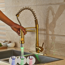 Wholesale and Retail Kitchen Spring Sink Mixer Faucet Gold Finish with LED Light