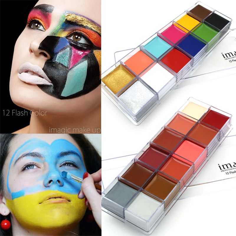 IMAGIC 12 Colors Flash Tattoo Face Body Paint Oil Painting Art Halloween Party Fancy Dress Beauty Makeup Tools imagic cosmetics body painting flash tattoo palette halloween painting skin wax professional makeup remover painting tools