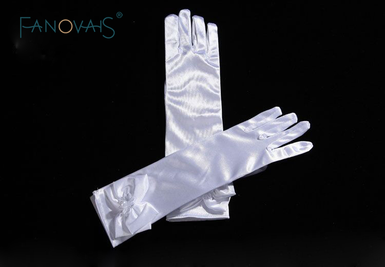 New Arrival Elbow Length Long Full Fingers Wedding Gloves for Little Girls with Pearls Bow Satin Girls Gloves 2019