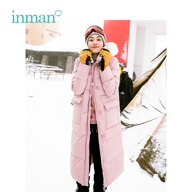INMAN 2019 Spring Winter Hooded Fur Collar Causal Long Style Women Outerwear Warm Women Long   Down     Coat