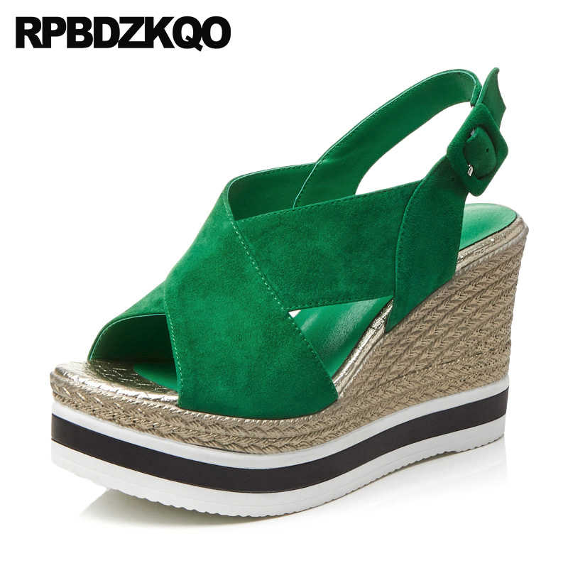 Women Rope Shoes 2018 Luxury Slingback Green Pumps Designer Strap Genuine  Leather Wedge Sandals High Heels