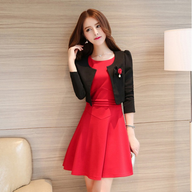 4b69e1d96b69b 2018 New Autumn Ladies Elegant Two Piece Dress Sets Black Long Sleeve  Jacket Red Bodycon Dresses Office Vestidos de Festa C25