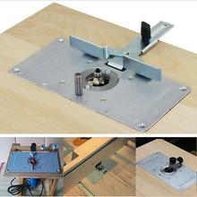 Table de toupie pour menuiserie, plaque dinsertion bancs en Aluminium, tondeuse à bois, gravure avec outils à 4 anneaux