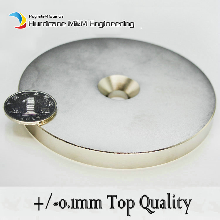 62kg Pulling NdFeB Countersunk Magnet Dia 100x10 (+/-0.1)mm M10 Screw Countersunk Hole Strong Neodymium Permanent Magnet 2 sets