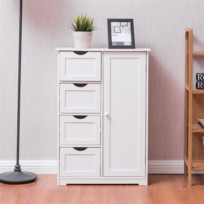 Standing Indoor Wooden Cabinet With 4 Drawers Storage Cabinet MDF Board Storage Cabinet White Living Room Cabinets