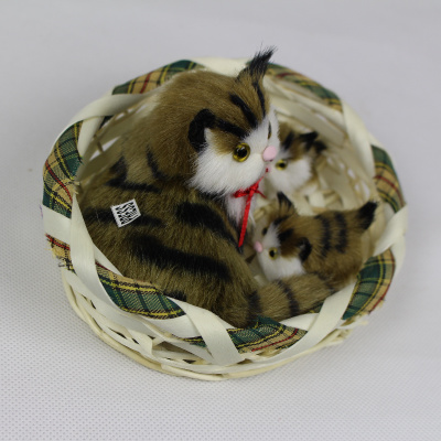 simulation cat mother & two little children in one basket 16x13cm polyethylene&furs sounds miaow cat model decoration gift d587