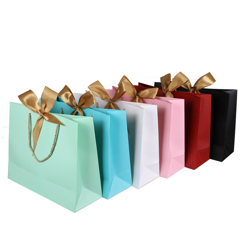 Candy Color Gift Paper Bags Solid Shopping Bag With Handle And Ribbon Wedding Party Favors Festival Big & Small Gift Bags 10pcs