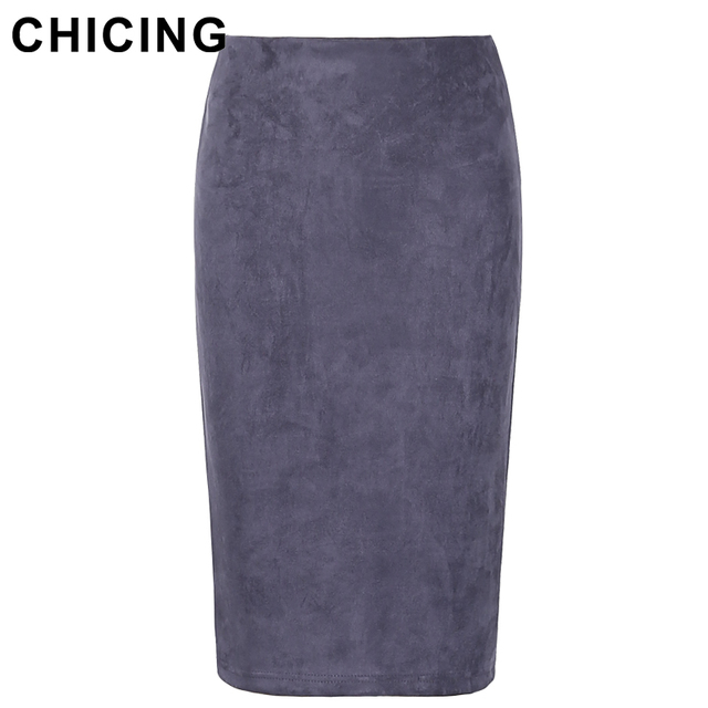 d7df879844 CHICING High Street 2019 Women Suede Multi Color Pencil Midi Skirt Female  Autumn Winter Basic Tube