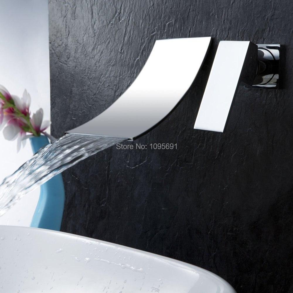 MAIDEER Single Handle Wall Mount Widespread Waterfall Bathroom ...