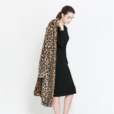 19548c521b5 $Sales Coats Faux Fur Woman Leopard Print Long Plus Size Trench Coat For  Women Autumn Winter Fur Jacket Female FC49012-in Faux Fur from Women's  Clothing & ...