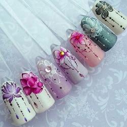 1 шт. слайдер наклейки для ногтей градиентные наклейки Лотос фиолетовый цветок лоза дизайн для дизайна ногтей водяной знак татуировки украш...