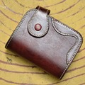Vintage Women's and Men's Genuine Leather Wallets Unisex Retro Purse Men Vegetable Tanned Leather Wallet Gift Box Package MZ4053