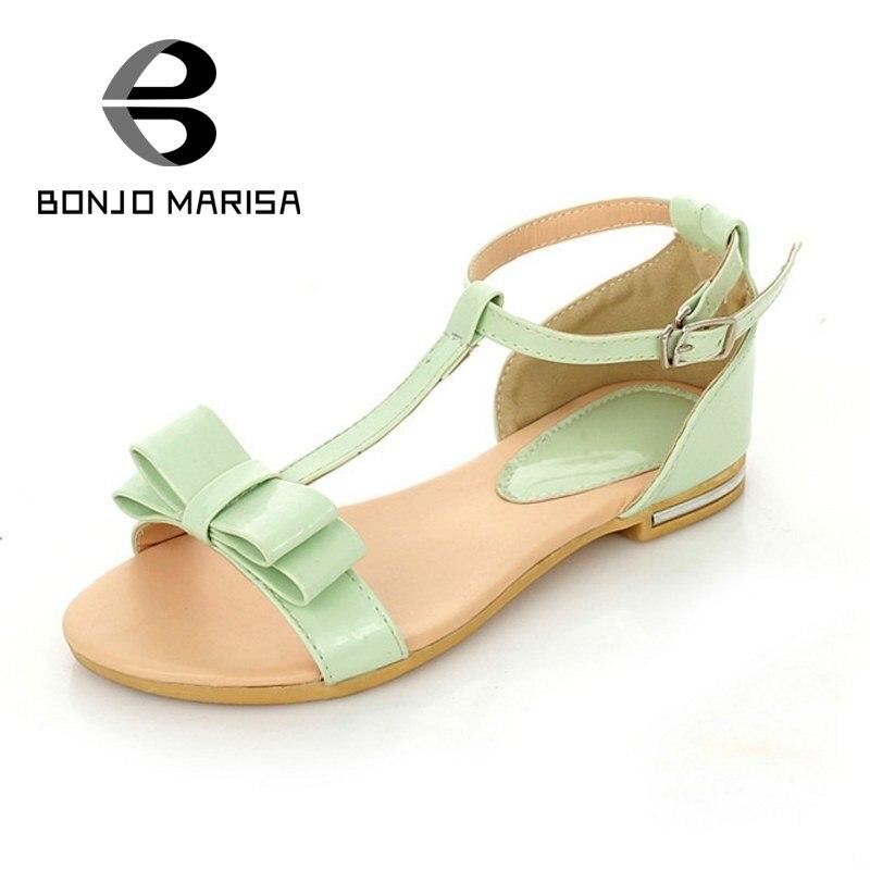 ФОТО BONJOMARISA New Arrivals Roman Style Flat Heels Women Sandals Open Toe Bowtie Woman Shoes Summer Ankle Strap Leisure Shoes