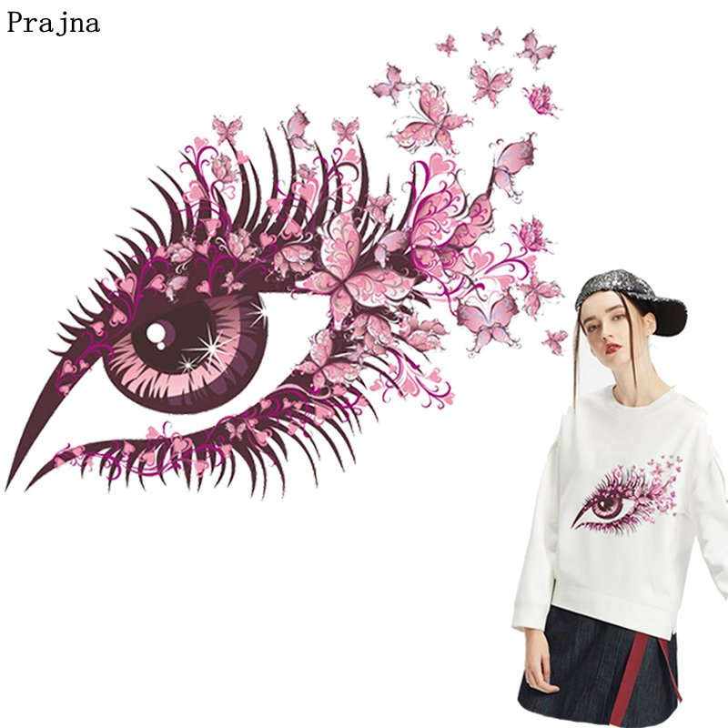 Prajna Eyeball Iron On Transfer High Heel Butterfly Stickers On Clothes Thermals Heat Transfer Vinyl Summer For T shirts Decor in Patches from Home Garden