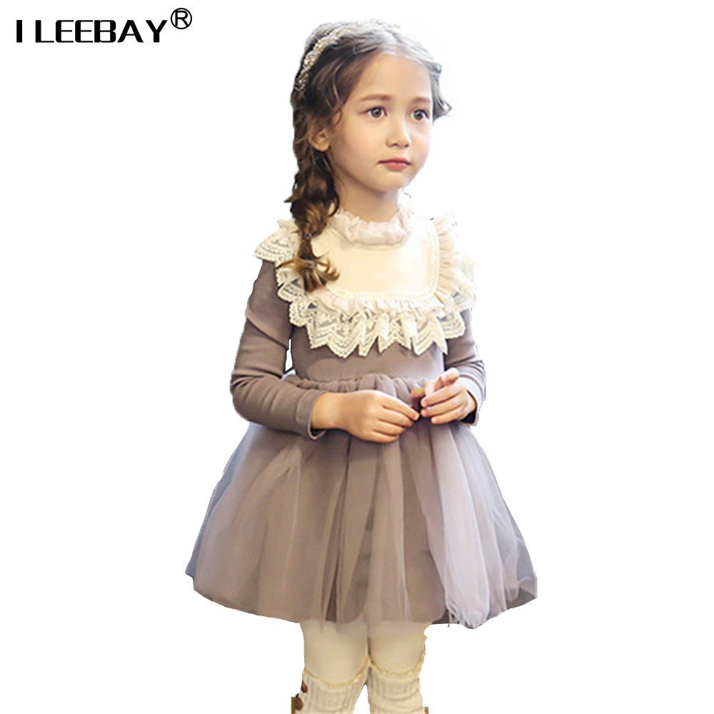 Full Sleeve Lace Dress for Girls Children Cotton Tulle New Fashion Summer Autumn Korean Style Kids Clothing Tutu Princess Dress acthink 2017 new girls formal solid lace dress shirt brand princess style long sleeve t shirts for girls children clothing mc029
