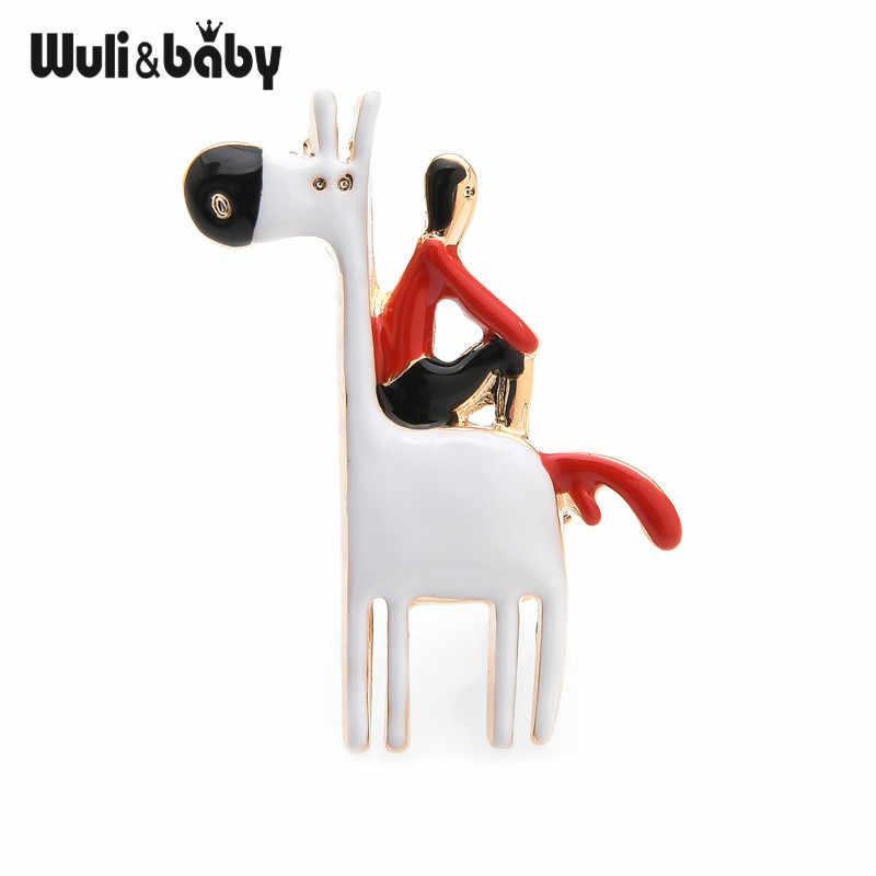 Wuli Bayi Berpikir Pria Duduk Di Atas Kuda Enamel Lucu Bros Pin untuk Wanita Asli Bros Hadiah