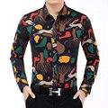 2016 Новый Осенняя Мода мужская Рубашка Новый Дизайн Печатных футболка С Длинным рукав Рубашки Мужчин Высокое Качество Роскошные Вскользь Офис Рубашки Мужчины 7XL