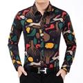 2016 New Autumn Fashion Men's Shirt New Design Printed Long Sleeve Shirt Men High Quality Luxury Casual Office Shirts Men 7XL