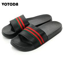 Fashion Brand Men Slippers Summer Beach Sandals Flat Striped Ribbon Slides Non Slip Outdoor Casual Shoes Unisex Home Flip Flops