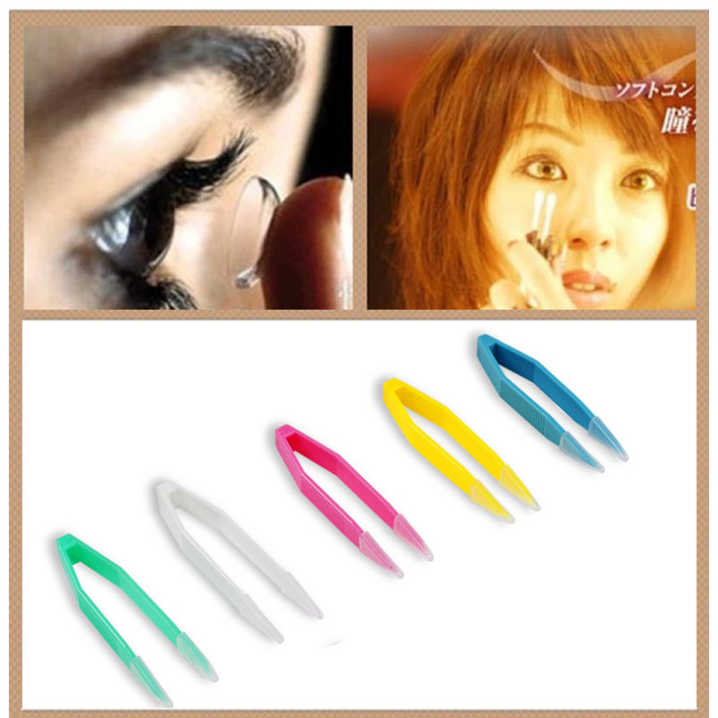 10 Pcs Eyes Care Contacts Tweezers Insert Remover Contact Lenses Tweezers Colorful Silicone 60mm Tweezers Makeup Tool EB1066