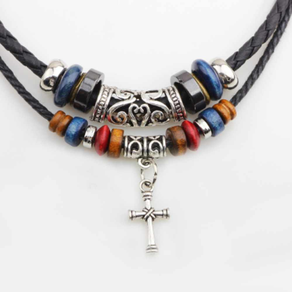 UBEAUTY moda czarny kołnierz szyi łańcuch Sexy krzyż obojczyka dziki Temperament Choker naszyjnik Cowboy akcesoria biżuteria dla mężczyzn