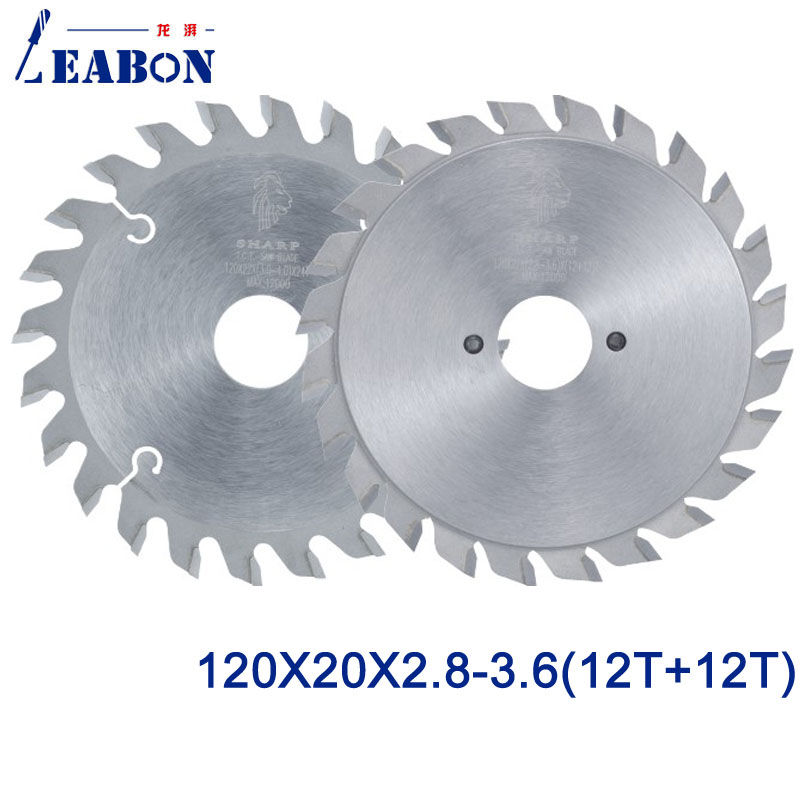 LEABON Woodworking Scoring Saw (ATB Teeth ) 120* 20* 2,8-3,6   (12T+12T)  For Woodworking Cutting