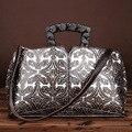 Кожа ретро ручной вытирая цвет диагональ пакет тиснением сумки руки мешок кожа сумка сумочка