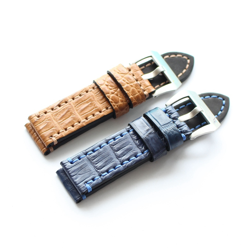 LUKENI Handmade Crocodile Skin Strap 22mm 24mm Blue Brown Watchband With Buckle Replace PAM And Big Pilot Watch Wristband handmade 22mm 22mm vintage brown black ostrich skin leather strap retro watchband for kelpy pilot watch